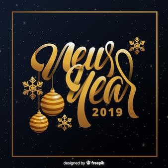Ano novo, 2019, fundo, com, dourado, bolas