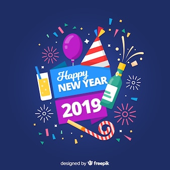 Ano novo, 2019, fundo, com, partido, elementos