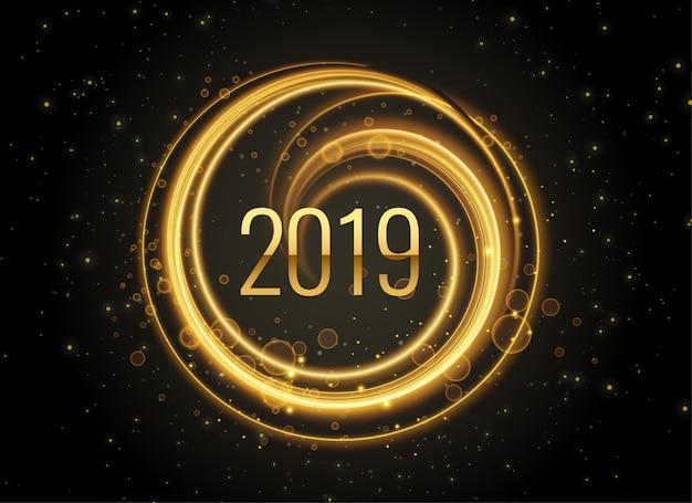 Ano novo 2019 fundo de efeito de luz