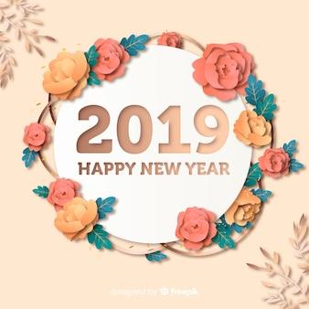 Ano novo 2019 fundo em estilo de papel
