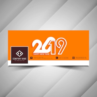 Ano novo 2019 social media banner design decorativo