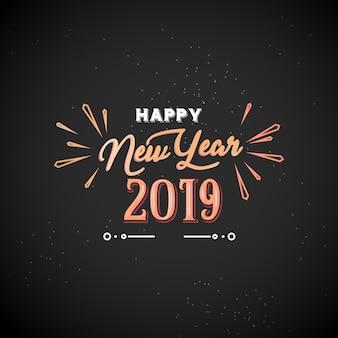 Ano novo 2019 typograpy com fogo de artifício