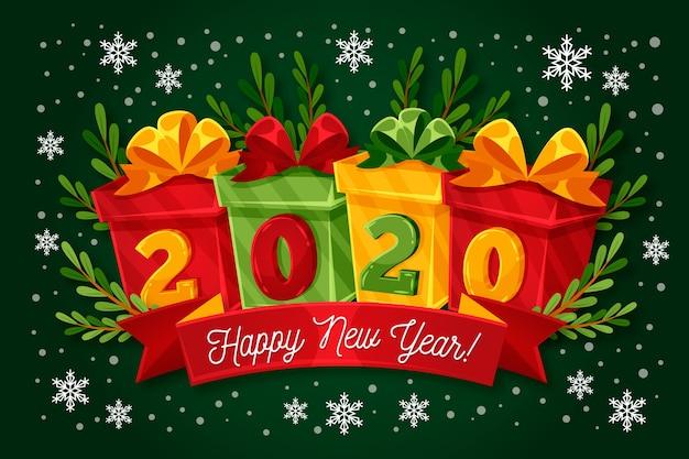 Ano novo 2020 caixas de presente e flocos de neve