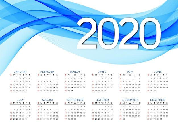 Ano novo 2020 calendário moderno design de onda azul