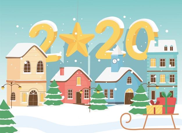 Ano novo 2020 cartão cidade trenó presentes neve e estrela pendurada