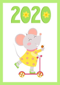 Ano novo 2020 cartaz de vetor plana com o modelo do mouse. ratinho monta uma scooter com caracol na mão