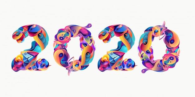 Ano novo 2020 colorido doodle carta tipografia