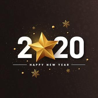Ano novo 2020 com estrela dourada brilhante