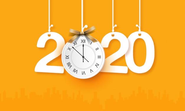 Ano novo 2020 com modelo criativo de relógio de suspensão