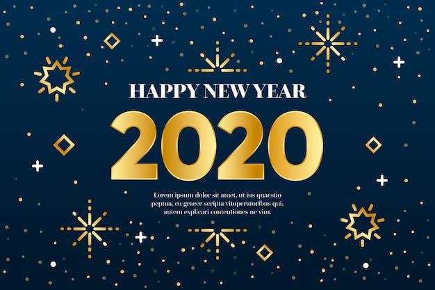 Ano novo 2020 conceito de plano de fundo no estilo de estrutura de tópicos