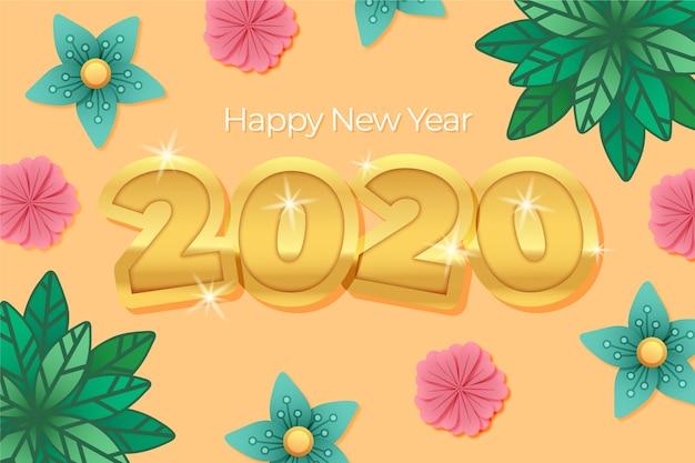 Ano novo 2020 fundo com decoração dourada realista