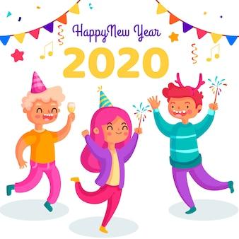 Ano novo 2020 fundo em design plano