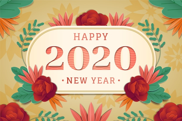 Ano novo 2020 fundo em estilo de jornal
