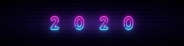 Ano novo 2020 sinal de néon.