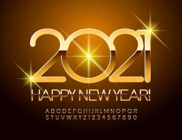 Ano novo 2021 com fonte de ouro. letras e números do alfabeto reflexivo