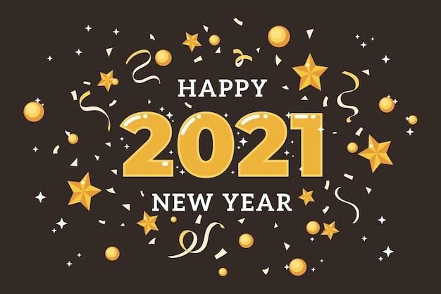 Ano novo 2021 em design plano