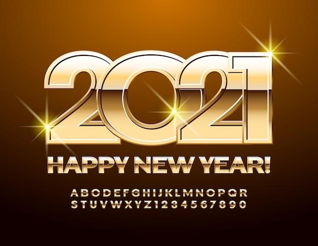 Ano novo 2021. fonte chique brilhante. letras e números do alfabeto dourado