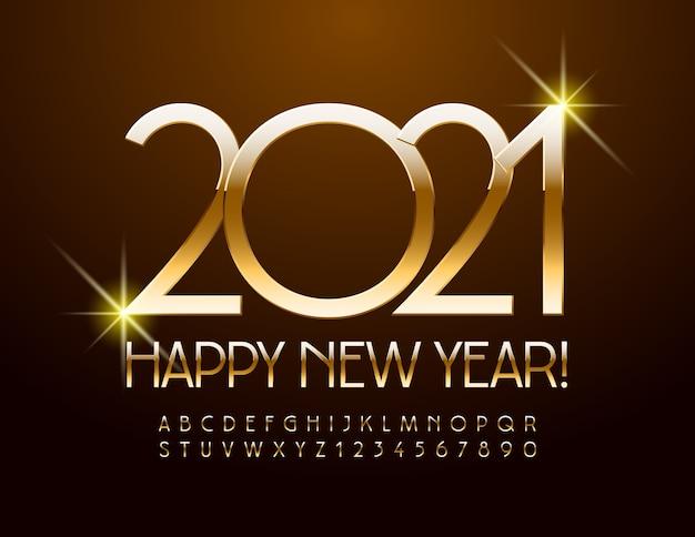 Ano novo 2021. fonte elegante glamour. letras e números do alfabeto dourado