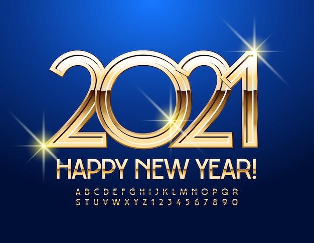 Ano novo 2021. fonte elegante ouro. letras e números do alfabeto de luxo