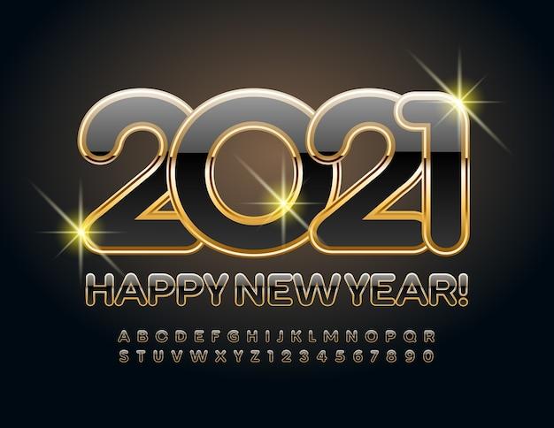 Ano novo 2021. royal font. letras e números do alfabeto em preto e dourado
