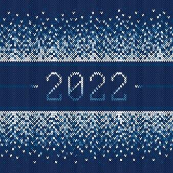 Ano novo 2022 feriado de inverno sem costura padrão de malha