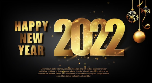 Ano novo 2022. ilustração em vetor de cores pretas e douradas de feliz ano novo