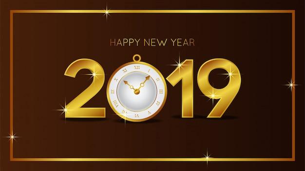 Ano novo 3d número dourado com relógio