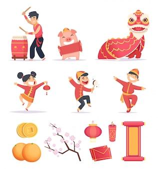 Ano novo asiático. feliz povo chinês comemora 2019 com símbolos tradicionais fotos de fogos de artifício lanterna de dragões