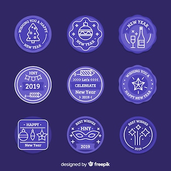 Ano novo azul 2019 conjunto de rótulos