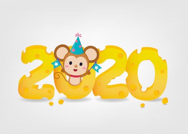 Ano novo banner. feliz ano novo 2020. o ano do rato. 2020 com manteiga e rato bonitinho no fundo branco.