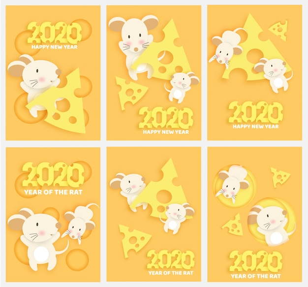 Ano novo chinês 2020 ano do rato em corte de papel e estilo artesanal.