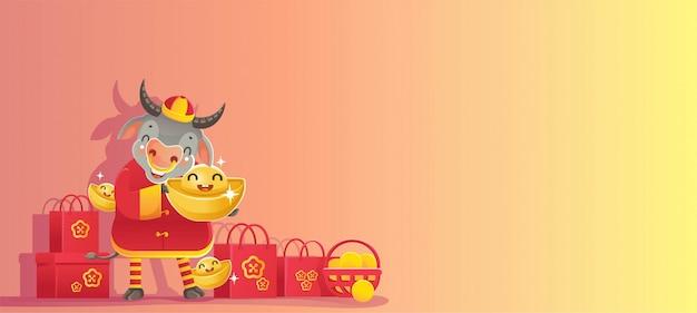 Ano novo chinês. ano do boi.