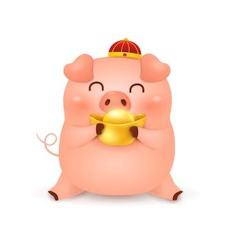 Ano novo chinês. bonito dos desenhos animados personagem porco com chapéu chinês tradicional vermelho e segurando o lingote de ouro chinês, isolado no fundo branco. o ano do porco. zodíaco do porco