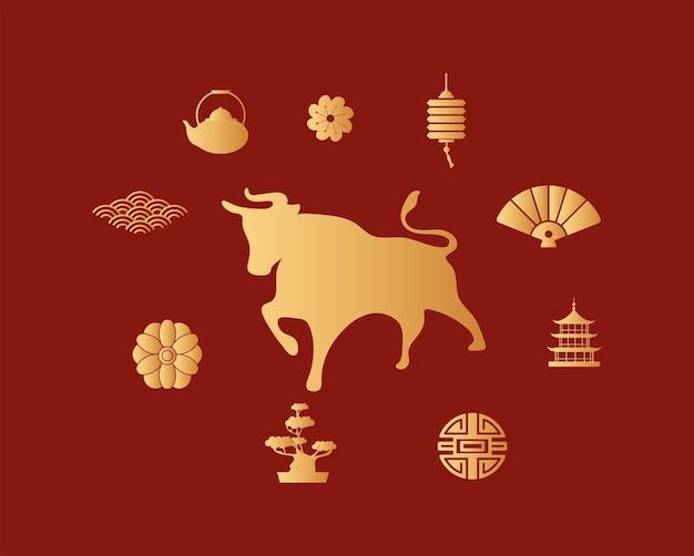 Ano novo chinês com boi dourado e conjunto de ícones