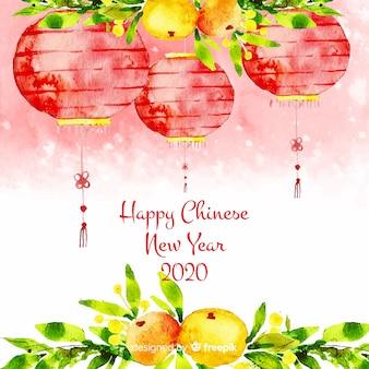 Ano novo chinês com lanternas
