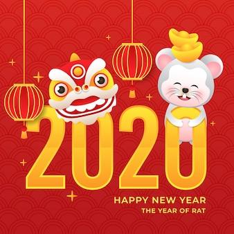 Ano novo chinês com rato e dragão e lanterna