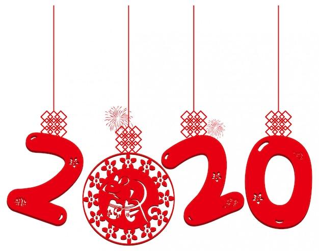 Ano novo chinês corte papel ano rato