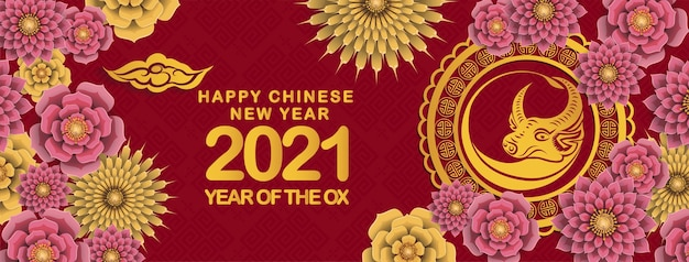 Ano novo chinês de 2021, ano da bandeira do boi, personagem de boi cortado em papel vermelho e dourado, flores e elementos asiáticos com estilo artesanal