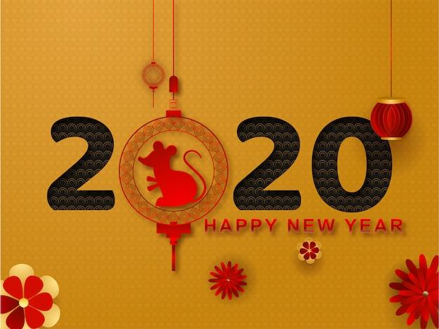 Ano novo chinês do cartão do rato