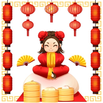 Ano novo chinês e garoto chinês