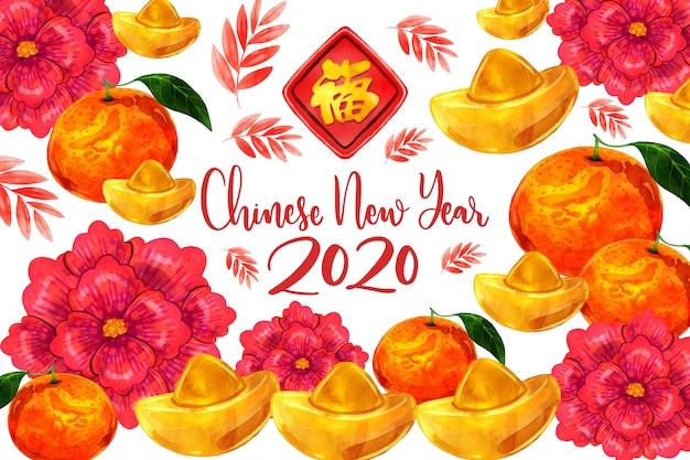 Ano novo chinês em aquarela colorida