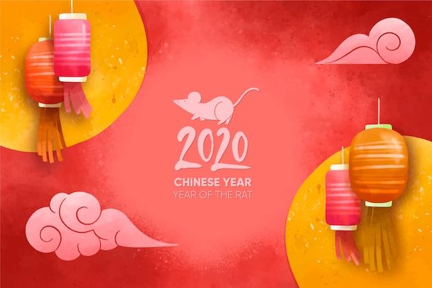 Ano novo chinês em aquarela