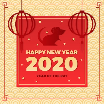 Ano novo chinês em plano de estilo de papel