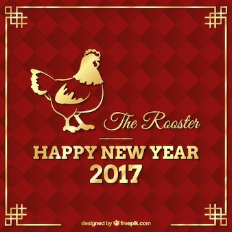 Ano novo chinês fundo galo dourado abstrato vermelho
