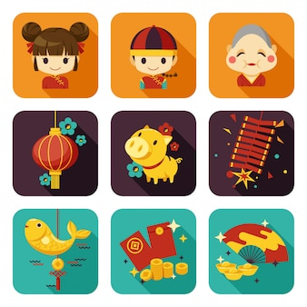 Ano novo chinês ícone plana