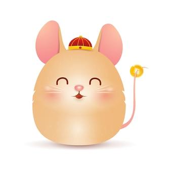 Ano novo chinês. personagem de rato pequeno gordo bonito dos desenhos animados com chapéu vermelho chinês tradicional e moeda de ouro chinês isolado no fundo branco. ano do rato. rato do zodíaco. vetor.