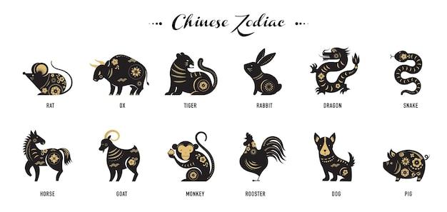 Ano novo chinês, signos do zodíaco, ícones cortados em papel e símbolos.