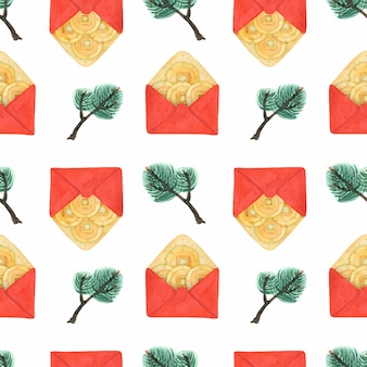 Ano novo chinês vermelho envelopes e ramos de pinheiro padrão