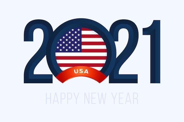 Ano novo com bandeira dos eua isolada no branco