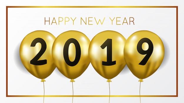 Ano novo com hélio voador de ouro